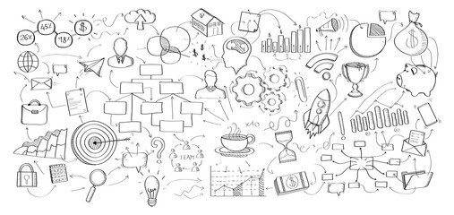 Business plan in hand-drawn icons style