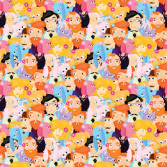 seamless pattern with bearded men