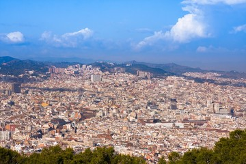 View on Barcelona from Montjuic hill, Spain