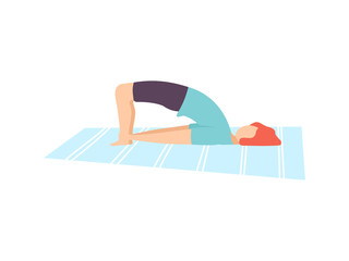Young Man in Bridge Pose, Guy Practicing Yoga, Physical Workout Training Vector Illustration