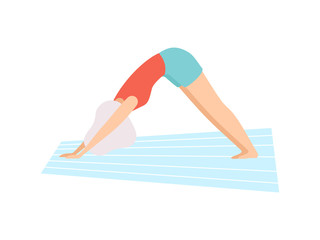 Girl in Downward Facing Dog Pose, Young Woman Practicing Yoga, Physical Workout Training Vector Illustration