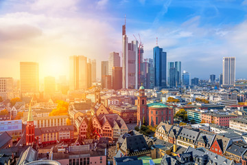 Frankfurt am Main financial business district at sunset. Panoramic aerial view cityscape skyline with skyscrapers in Frankfurt, Hessen. Germany