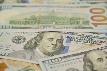 100 Dollars bill and portrait Benjamin Franklin on USA money banknote. One Hundred Dollar Banknotes.