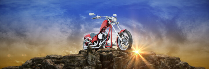 Motorcycle at sunset. 3d rendering