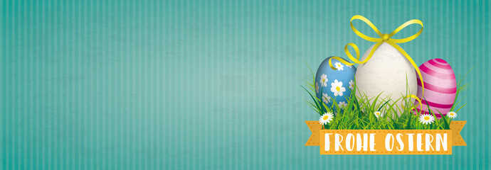 Frohe Ostern Banner mit Ostereiern im Gras