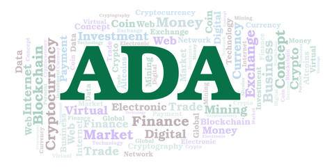 ADA or Cardano cryptocurrency coin word cloud.