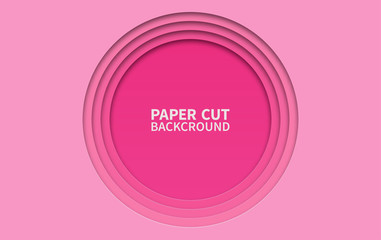 Circle paper cut background. Wavy pink layers. Abstract realistic paper design. Trendy carving art. 3d relief. Wall mural