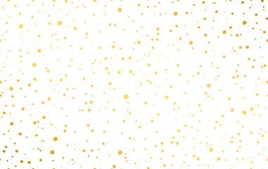 Dynamic dot pattern in gold. Randomly disposed spots. Golden dots background.
