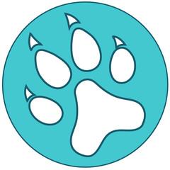 Blue Paw icon flat. Vector illustration symbol