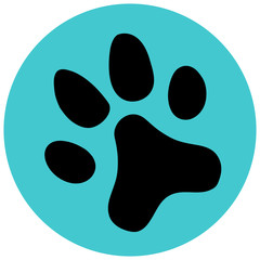 Blue Paw icon flat. Vector illustration symbol