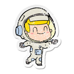 distressed sticker of a happy cartoon astronaut man