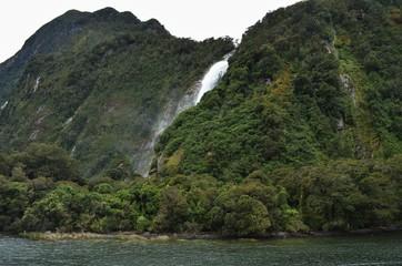Bowen Falls waterfall at milford Sound