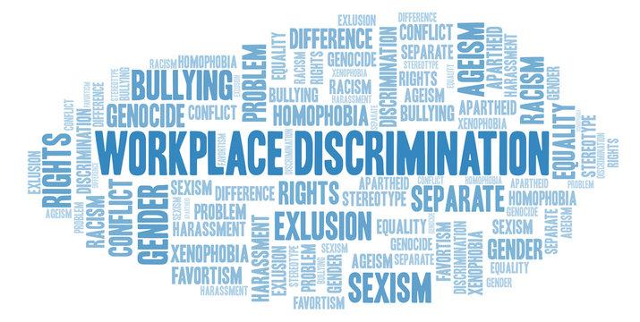 Workplace Discrimination - type of discrimination - word cloud.