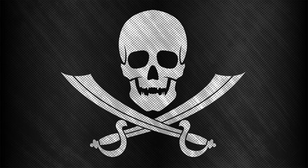 Jolly Roger. Black flag with a white skull and two crossed boarding sabers. Grand texture. Vector illustration.