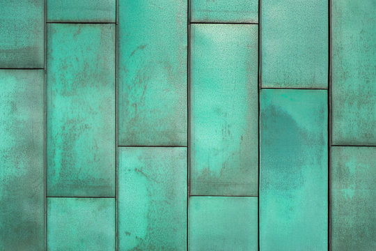 Modern copper folded sheet metal roof texture, Natural way is oxidized copper wall background