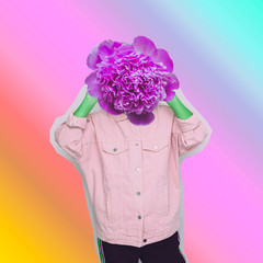 Modern art collage. Female alien model with the big flower instead  head on gradient background.