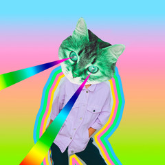Modern art collage. Female alien model with the cat head and rainbow lasers from the eyes on...