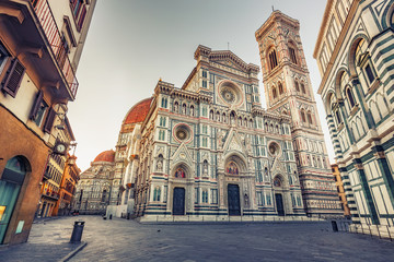 Santa Maria del Fiore cathedral in Florence, Italy, in summer. Scenic travel background.