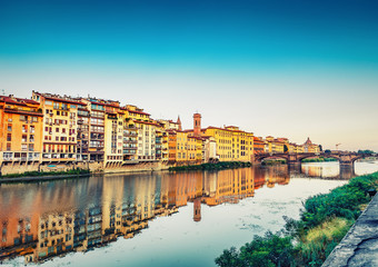 Architecture of Florence, Italy at daytime. Colourful travel background.