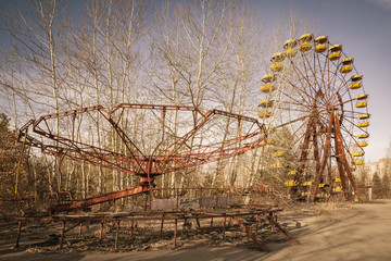 Poster Attraction parc Abandoned amusement park in Pripyat, in Chernobyl Exclusion Zone, Ukraine
