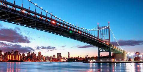 Triborough Bridge at night, in Astoria, Queens, New York. USA