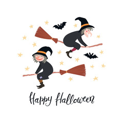 Printed kitchen splashbacks Illustrations Hand drawn vector illustration of witches on broomsticks in the night sky, with lettering quote Happy Halloween. Isolated objects on white background. Flat style design. Concept, element card, banner.