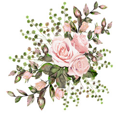 Pink rose. Flower arrangement of roses, leaves and ornamental herbs.