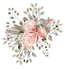 Pink rose. Flower arrangement of roses, leaves and ornamental herbs.