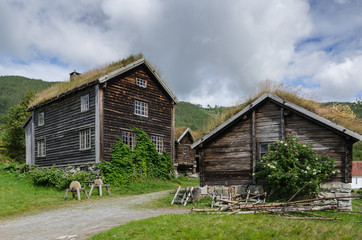 Typical log houses in the Sogn folk museum