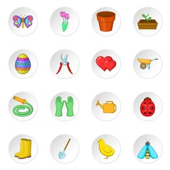 Spring icons set. Cartoon illustration of 16 spring vector icons for web
