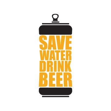 Save water drink beer vector poster design template with beer bottle silhouette. Craft beer logo or label for brewery