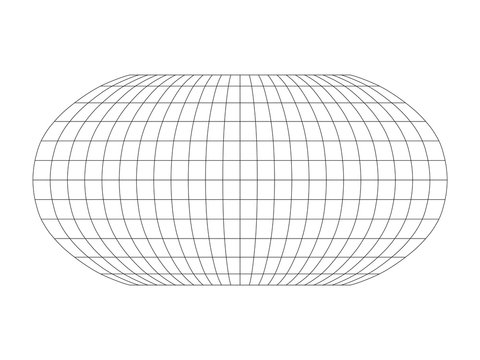 Blank World grid of meridians and parallels. Simple vector illustration