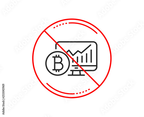 No or stop sign  Bitcoin graph line icon  Cryptocurrency