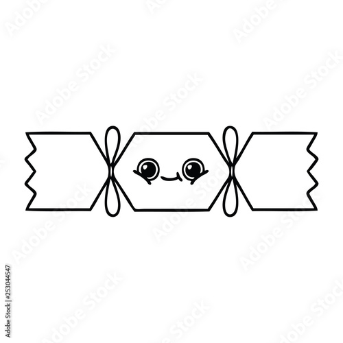 Christmas Cracker Vector.Line Drawing Cartoon Christmas Cracker Stock Image And