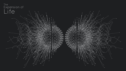 Attraction of life. Vector connecting particle tails. Small particles strive to each other. Blurred debrises into rays or lines under high speed of motion. Burst, explosion backdrop. - fototapety na wymiar