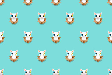 Vector cartoon white cat in cardboard box seamless pattern for design.
