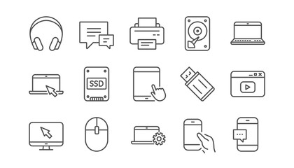 Fototapeta Device line icons. Laptop, SSD and Headphones. Printer linear icon set.  Vector