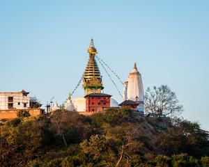 Swayambhunath stupa also called Monkey Temple in Kathmandu, Nepal.