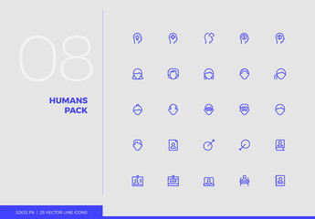 Vector Line Icons Humans Pack