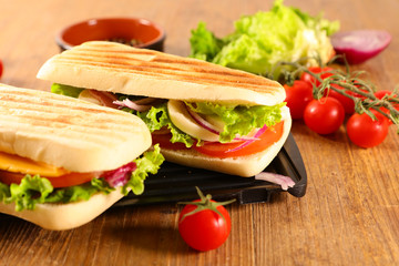 panini with tomato,mozzarella and lettuce