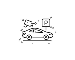 Parking with video monitoring line icon. Car park sign. Transport place symbol. Geometric shapes. Random cross elements. Linear Parking security icon design. Vector