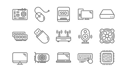 Computer device line icons. Motherboard, CPU and Laptop. SSD memory linear icon set.  Vector Wall mural