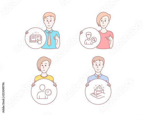People hand drawn style  Set of Search people, Time management and