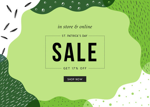 St. Patrick's Day sale banner with stylish background for social media, ads and email design, web site, flyer, shop poster, display, advertising print, promotional material and announcement.
