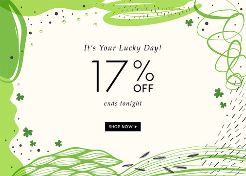 St. Patrick's Day sale banner with stylish background for social media, ads and email design, web site, shop poster, display, promotional material and announcement.
