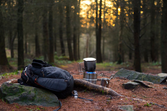 Camping Cooking in Forest