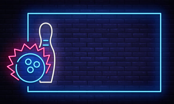 Bowling neon sign vector. Neon Frame Bowling Club Design template, light banner, night signboard, nightly bright advertising, light inscription. Vector illustration