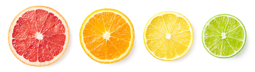 Citrus fruit slices isolated on white background