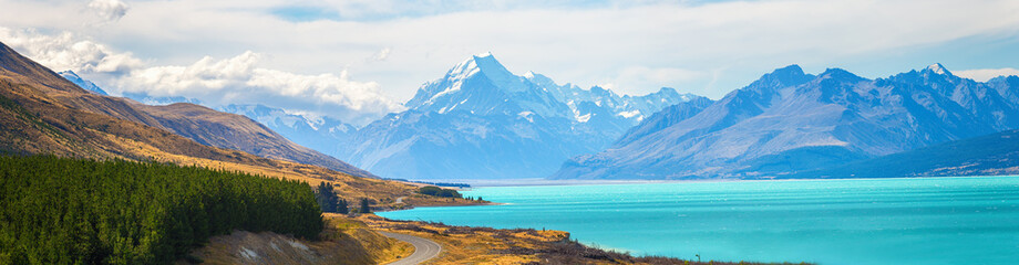 Mount cook view point with the lake pukaki and the road leading to mount cook village view point with the lake pukaki and the road leading to mount cook village in South Island New Zealand.