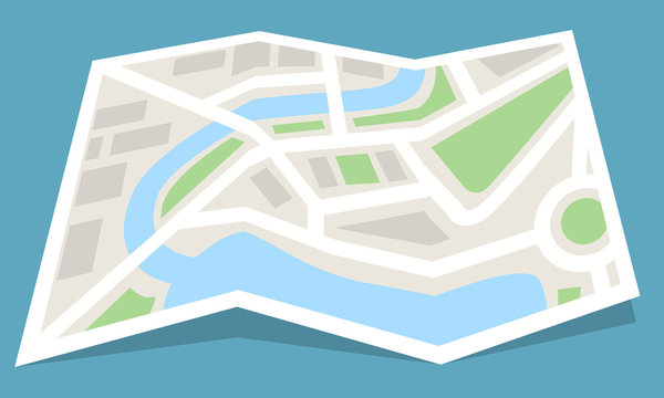Folded map paper icon. Flat color style vector illustration.